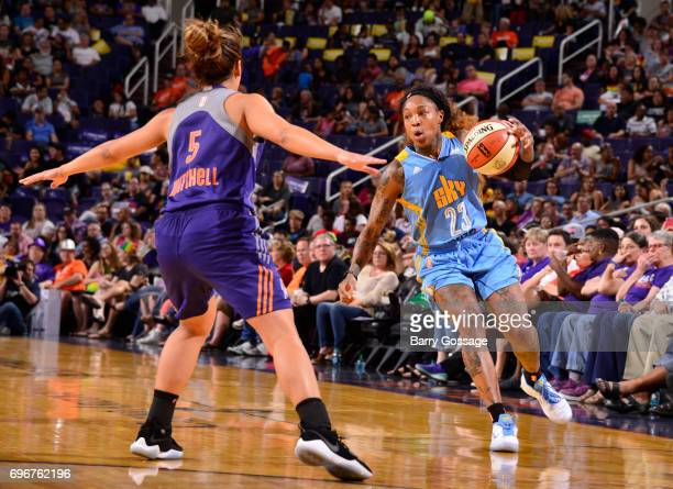 Cappie Pondexter of the Chicago Sky handles the ball against the Phoenix Mercury on June 16 2017 at Talking Stick Resort Arena in Phoenix Arizona...