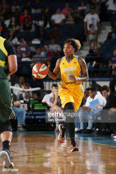 Cappie Pondexter of the Chicago Sky handles the ball against the Seattle Storm on September 3 2017 at Allstate Arena in Rosemont IL NOTE TO USER User...