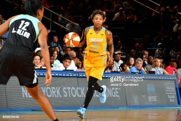 Cappie Pondexter of the Chicago Sky handles the ball during the game against the New York Liberty in a WNBA game on August 27 2017 at Madison Square...
