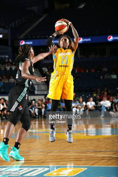 Cappie Pondexter of the Chicago Sky passes the ball against the New York Liberty on July 30 2017 at Allstate Arena in Rosemont IL NOTE TO USER User...