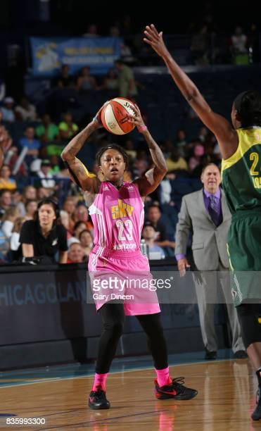 Cappie Pondexter of the Chicago Sky passes the ball against the Seattle Storm on August 20 2017 at Allstate Arena in Rosemont IL NOTE TO USER User...