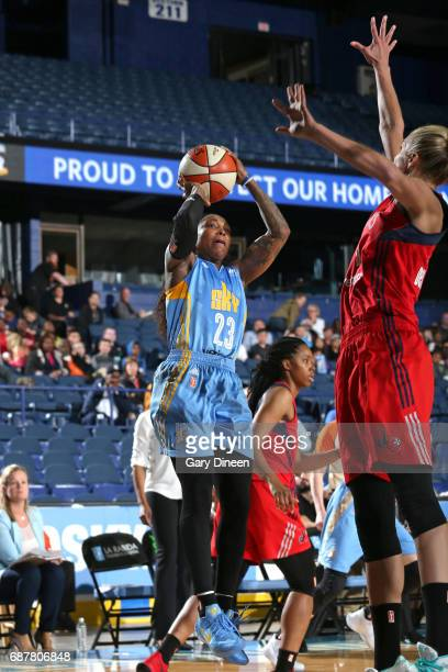 Cappie Pondexter of the Chicago Sky shoots the ball against the Washington Mystics on May 24 2017 at the Allstate Arena in Rosemont Illinois NOTE TO...