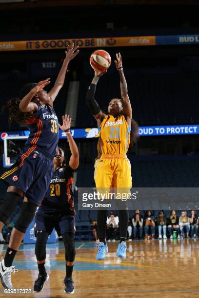Cappie Pondexter of the Chicago Sky shoots the ball against the Connecticut Sun on May 28 2017 at the Allstate Arena in Rosemont Illinois NOTE TO...