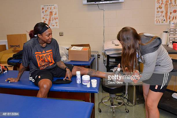 Cappie Pondexter of the Eastern Conference AllStars gets taped before the WNBA AllStar practice and Media Availability at the Mohegan Center Arena on...