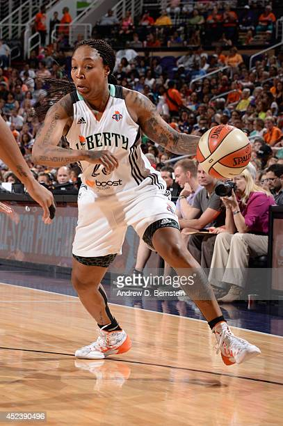 Cappie Pondexter of the Eastern Conference AllStars handles the basketball during the 2014 Boost Mobile WNBA AllStar Game on July 19 2014 at US...