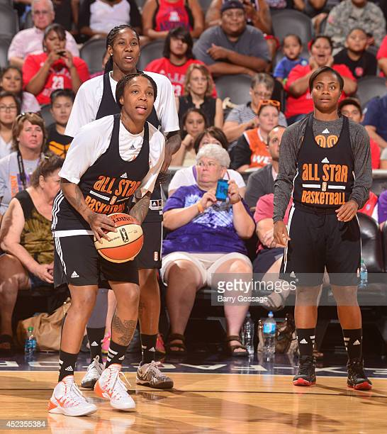 Cappie Pondexter of the Eastern Conference AllStars shoots during AllStar Practice and Media Availability on July 18 2014 at US Airways Center in...