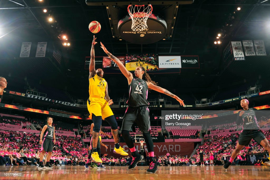 Cappie Pondexter #25 of the Indiana Fever goes to the basket against the Phoenix Mercury on August 10, 2018 at Talking Stick Resort Arena in Phoenix, Arizona.