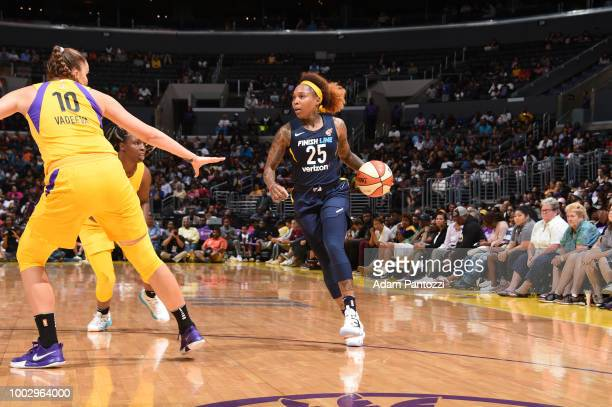 Cappie Pondexter of the Indiana Fever handles the ball against the Los Angeles Sparks on July 20 2018 at STAPLES Center in Los Angeles California...