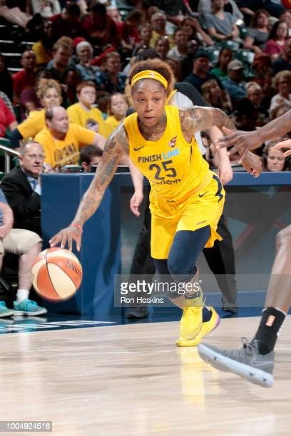 Cappie Pondexter of the Indiana Fever handles the ball against the Seattle Storm on July 24 2018 at Bankers Life Fieldhouse in Indianapolis Indiana...