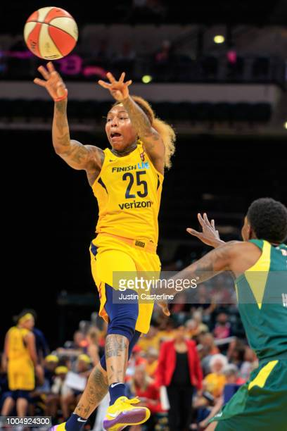 Cappie Pondexter of the Indiana Fever pass the ball against the Seattle Storm on July 24 2018 at Bankers Life Fieldhouse in Indianapolis Indiana