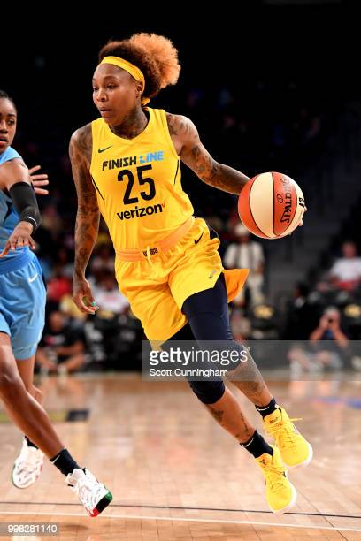 Cappie Pondexter of the Indiana Fever shoots the ball during the game against the Atlanta Dream on July 13 2018 at McCamish Pavilion in Atlanta...