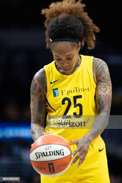 Cappie Pondexter of the Los Angeles Sparks dribbles before a free throw against New York Liberty at Staples Center on June 24 2018 in Los Angeles...