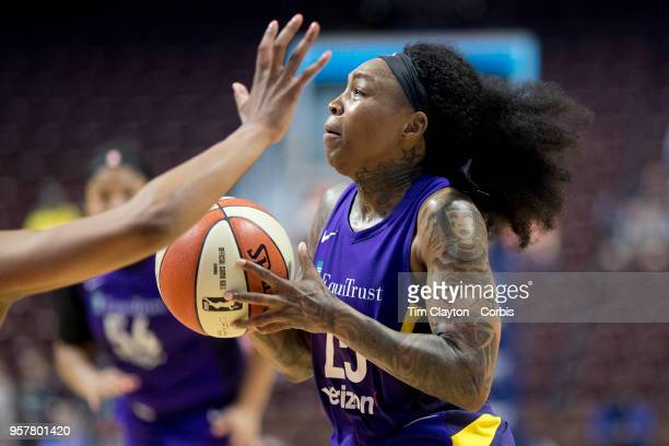 Cappie Pondexter of the Los Angeles Sparks drives to the basket during the Connecticut Sun Vs Los Angeles Sparks WNBA pre season game at Mohegan Sun...