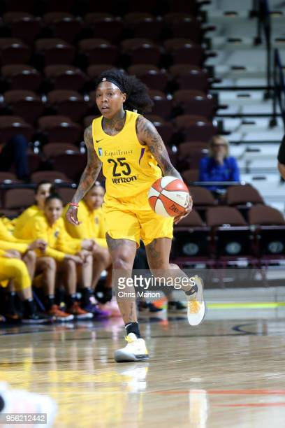 Cappie Pondexter of the Los Angeles Sparks handles the ball against the New York Liberty during a preseason game on May 8 2018 at Mohegan Sun Arena...