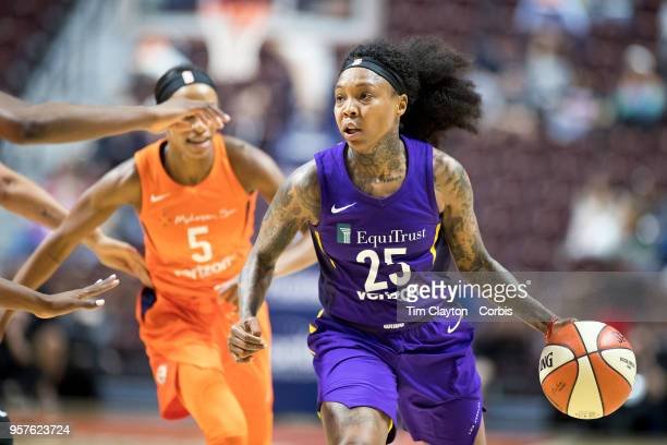 Cappie Pondexter of the Los Angeles Sparks in action during the Connecticut Sun Vs Los Angeles Sparks WNBA pre season game at Mohegan Sun Arena on...