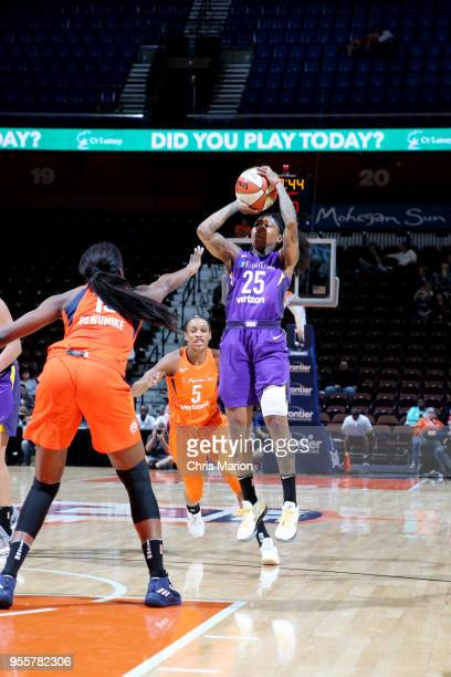Cappie Pondexter of the Los Angeles Sparks shoots the ball against the Connecticut Sun during a preseason game on May 7 2018 at Mohegan Sun Arena in...