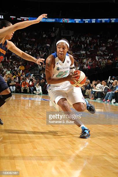 Cappie Pondexter of the New York Liberty dribbles against the Connecticut Sun during Game 2 of the Eastern Conference SemiFinals on September 29 2012...