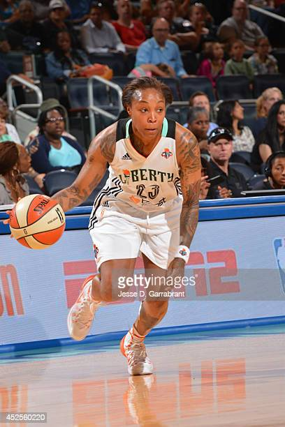 Cappie Pondexter of the New York Liberty drives to the basket against Lindsay Whalen of the Minnesota Lynx during the game on July 6 2014 at Madison...