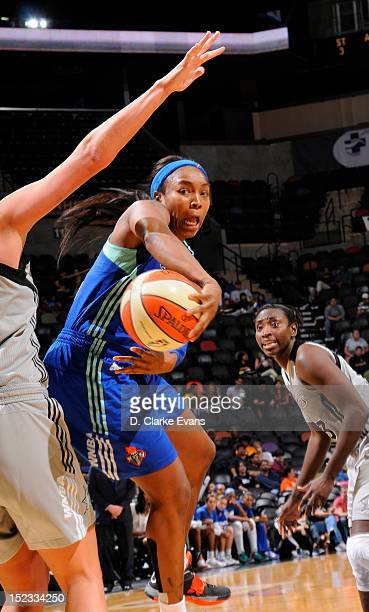 Cappie Pondexter of the New York Liberty passes against the San Antonio Silver Stars at the ATT Center on September 18 2012 in San Antonio Texas NOTE...