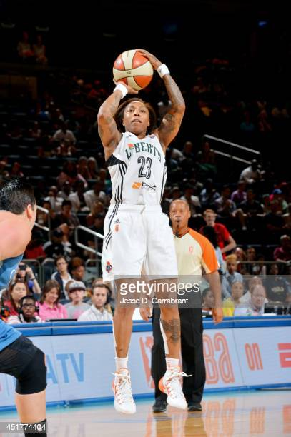 Cappie Pondexter of the New York Liberty shoots against the Minnesota Lynx on July 6 2014 at Madison Square Garden in New York New York NOTE TO USER...