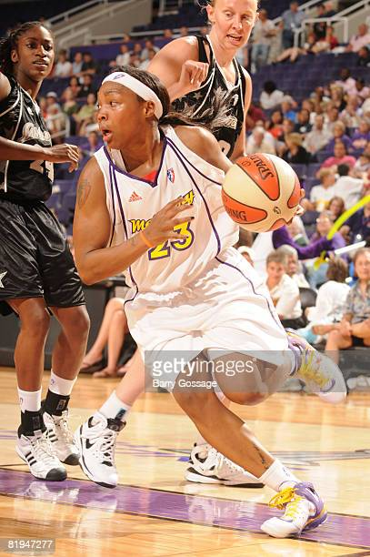 Cappie Pondexter of the Phoenix Mercury drives against the San Antonio Silver Stars on July 15 at US Airways Center in Phoenix Arizona NOTE TO USER...