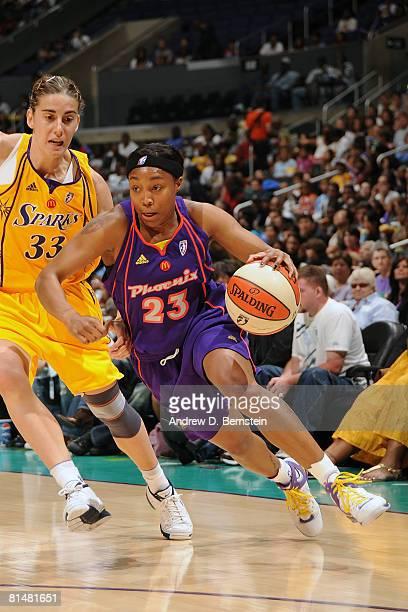Cappie Pondexter of the Phoenix Mercury goes to the basket against Rafaella Masciadri of the Los Angeles Sparks on June 6 2008 at Staples Center in...