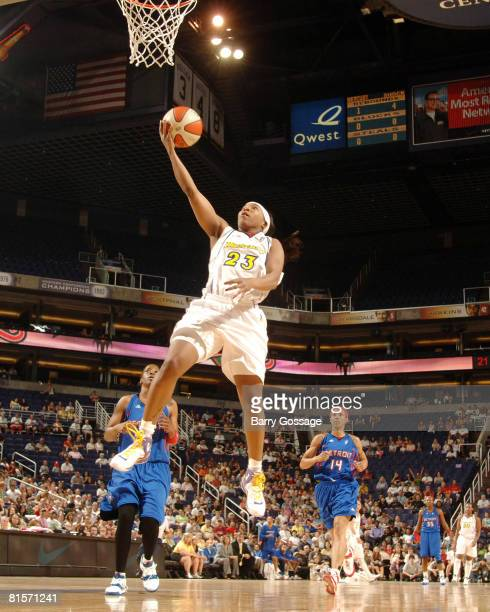 Cappie Pondexter of the Phoenix Mercury shoots against the Detroit Shock on June 14 at US Airways Center in Phoenix Arizona NOTE TO USER User...
