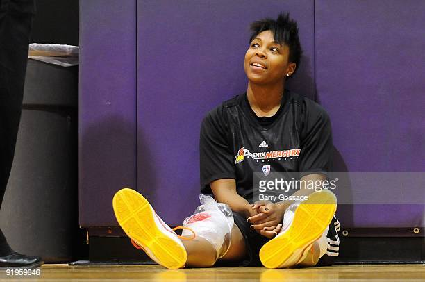 Cappie Pondexter of the Phoenix Mercury smiles during practice in preparation for Game Two of the WNBA Finals against the Indiana Fever on September...