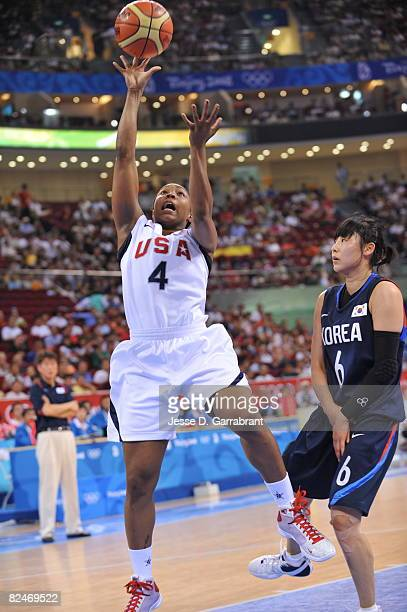 Cappie Pondexter of the U.S. Women's Senior National Team shoots against Korea during their quaterfinal women's basketball game on Day 11 of the...