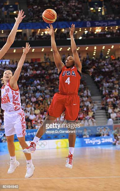 Cappie Pondexter of the U.S. Women's Senior National Team shoots against Russia during the women's semifinals basketball game at the 2008 Beijing...
