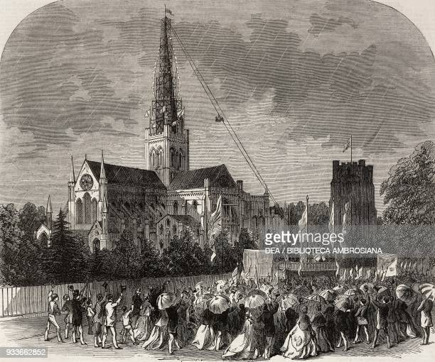 Capping the new spire of Chichester cathedral United Kingdom illustration from the magazine The Illustrated London News volume XLIX July 7 1866