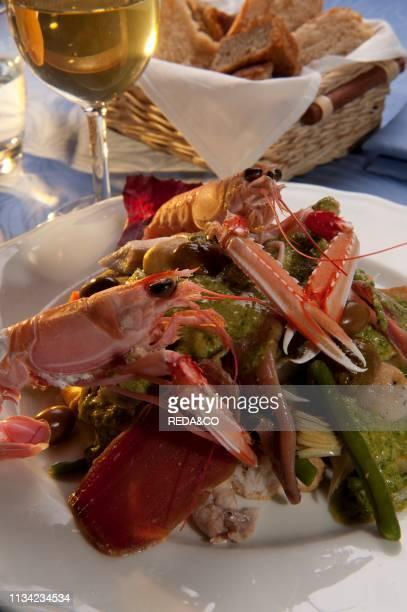 Cappon Magro typical ligurian fish dish from La Cucina di Nonna Nina. San Rocco di Camogli. Camogli. Ligury. Italy. Europe.