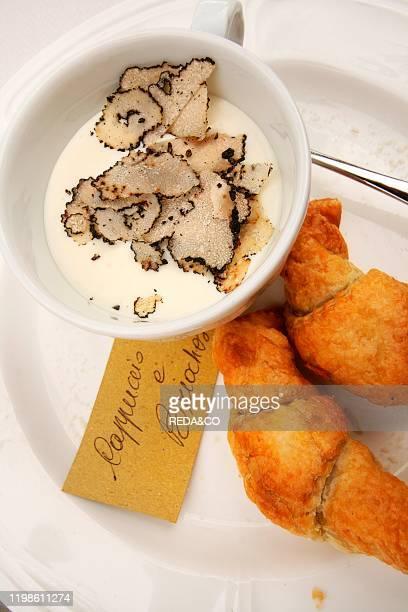 Cappuccino and brioche Robiola melted cheese with truffle and puff pastry with Sparrowgrass and artichokes Trattoria Il Bivio Cerretto Langhe...