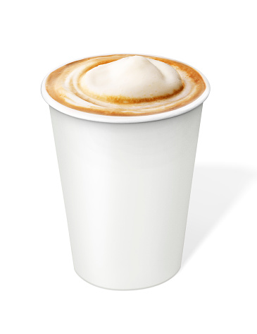 Cappuccino Coffee in disposable cup with clipping path 529837903