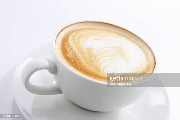 cappuccino coffee in white cup on white background