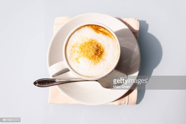 cappuccino coffee - sugar coffee stock photos and pictures