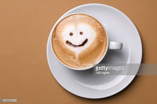 cappuccino - smiley face stock pictures, royalty-free photos & images