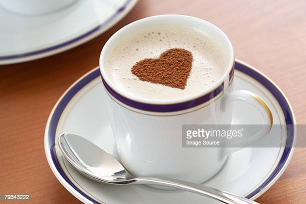 Cappuccino with a heart shape on it