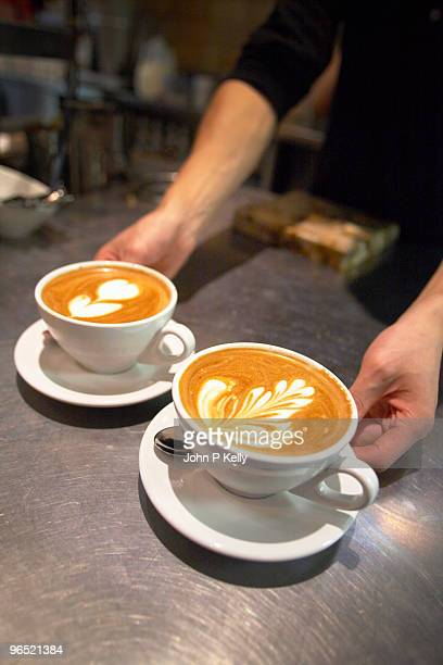 Cappuccinos with latte art