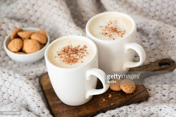 cappucino or latte with cinnamon and cookies - hot chocolate stock pictures, royalty-free photos & images