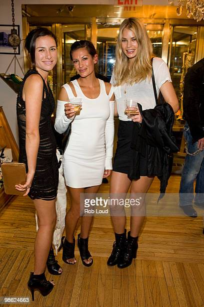 Cappy Esguerra Malia Jones and Tori Praver attend the unveiling of Limited Edition Kiehl's Acai DamageProtecting Toning Mists to benefit the...