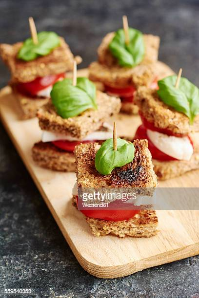 Caprese salad on toast with tomato, non-dairy mozarella type cheese and a basil leaf