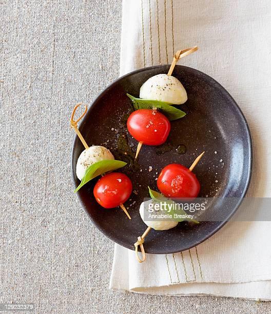 Caprese Tomato Basil Mozzarella Skewer Appetizer