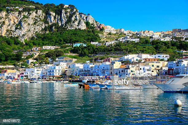 capri harbor panorama, blue mediterranean sea, bay of naples, italy - capri stock pictures, royalty-free photos & images