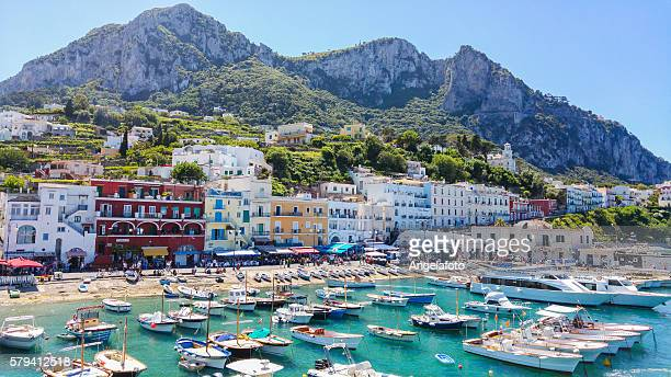 capri island landscape, marina grande. - capri stock pictures, royalty-free photos & images