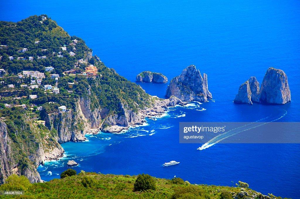 Capri panorama, Faraglioni, Tyrrhenian sea, Bay of Naples, Italy : Stock Photo