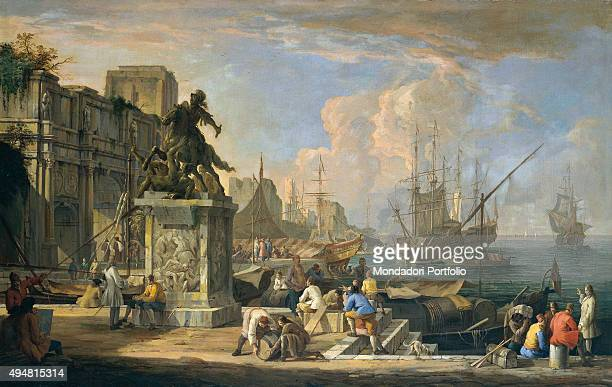 Capriccio with a View of the Harbor Arch of Constantine and Equestrian Monument by Luca Carlevaris 18th Century oil on canvas 85 x 135 cm Italy...