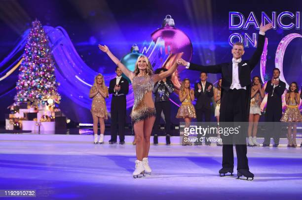 Caprice Bourret and Hamish Gaman on the ice during the Dancing On Ice 2019 photocall at ITV Studios on December 09 2019 in London England