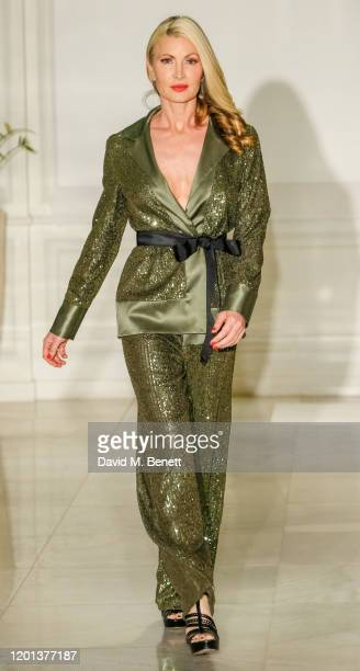 Caprice Bourret attends the Kolchagov Barba show during London Fashion Week February 2020 at Melia White House Hotel on February 16 2020 in London...