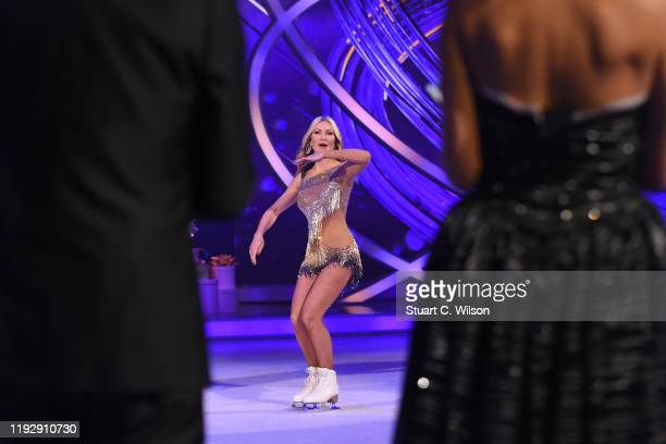 Caprice Bourret on the ice during the Dancing On Ice 2019 photocall at ITV Studios on December 09 2019 in London England
